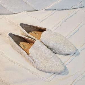Zara Woman Glitter Sneaker White Size 11